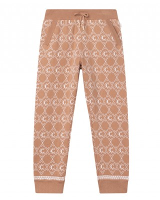 Beige knitted monogram joggers