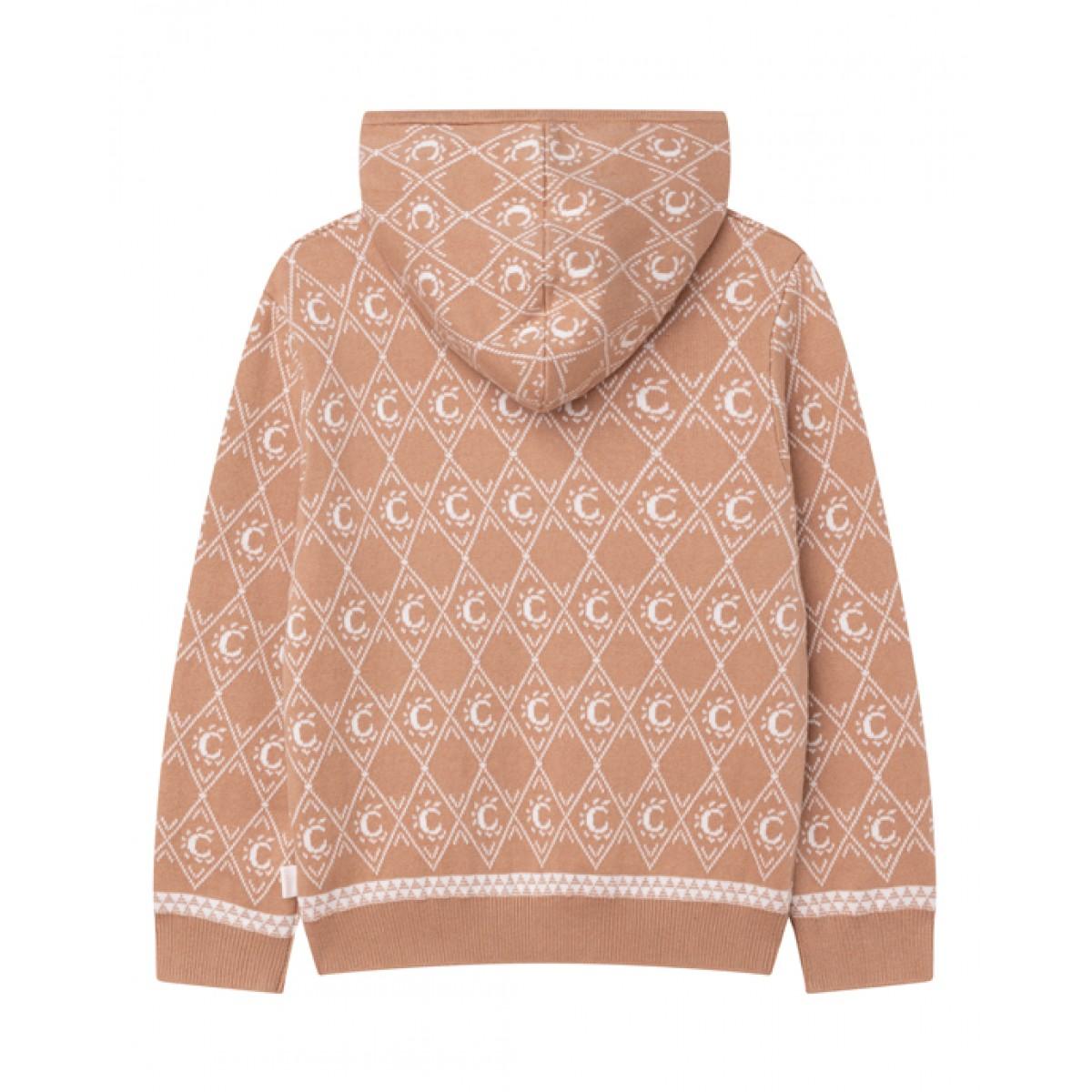 Beige knitted logo hoodie