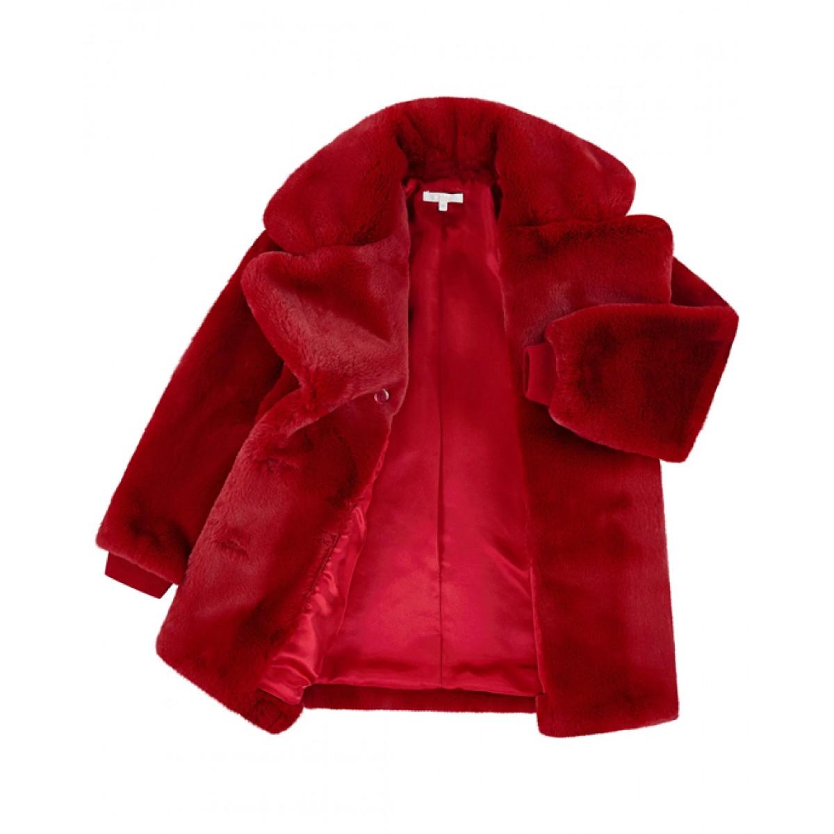 CHLOE Red faux fur coat