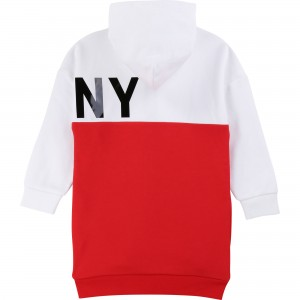 DKNY Red & White Long Zip-Up Top