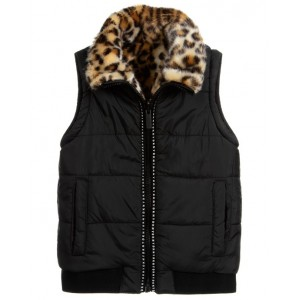 DKNY Reversible leopard print puffer gilet