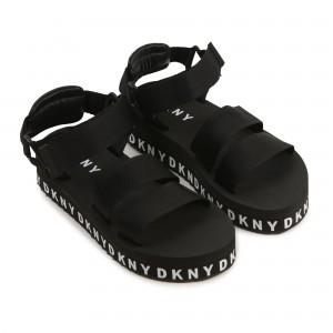 DKNY Black Logo Platform Sandals