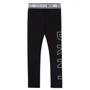 Black logo elastic waist leggings