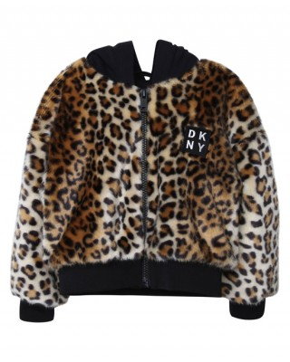 DKNY Faux fur leopard jacket