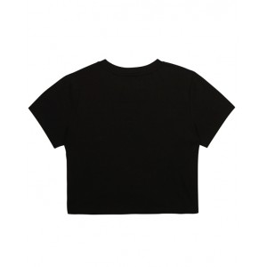 Black cropped T-shirt with print