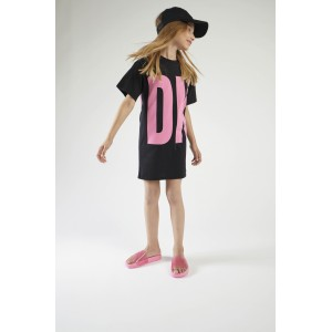 Black & pink logo dress