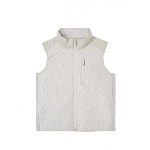 Monogram quilted gilet in silver