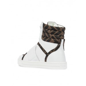 Logo leather high-top sneakers in white