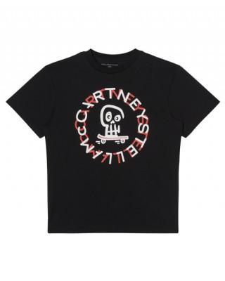 Black cotton T-shirt with logo print