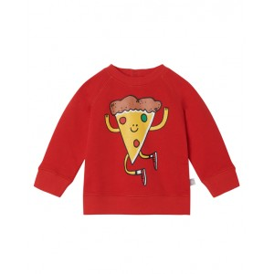 Red cotton sweatshirt with pizza print