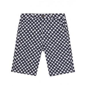 Check print denim bermuda shorts