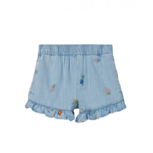 Chambray flower embroidery shorts