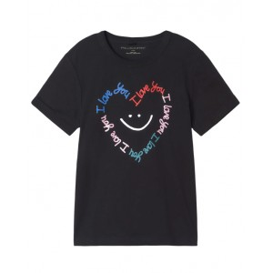 Black cotton T-shirt with heart print