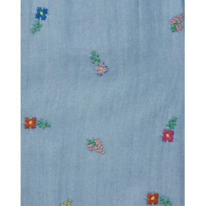 Chambray flower embroidery overall