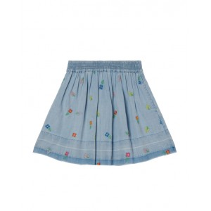 Chambray flower embroidery skirt