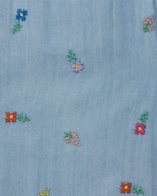 Chambray flower embroidery dress with pockets