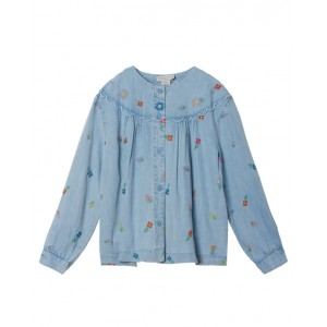 Chambray flower embroidery shirt