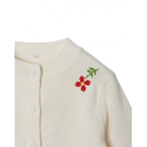 Flowers embroidery cardigan