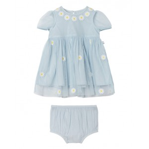 Blue embroidery tulle dress