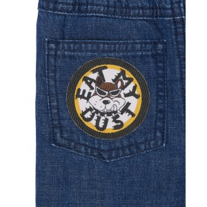 Stretchy pants with slogan patch