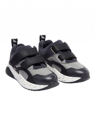 Gray and black velcro sneakers