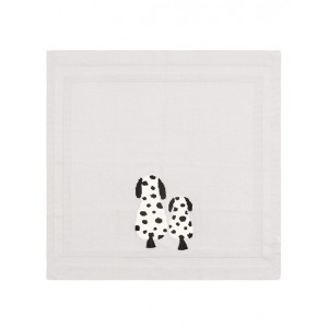 Knit blanket with dalmatians in grey