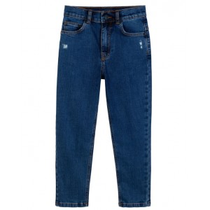 Blue jeans with embroidered logo