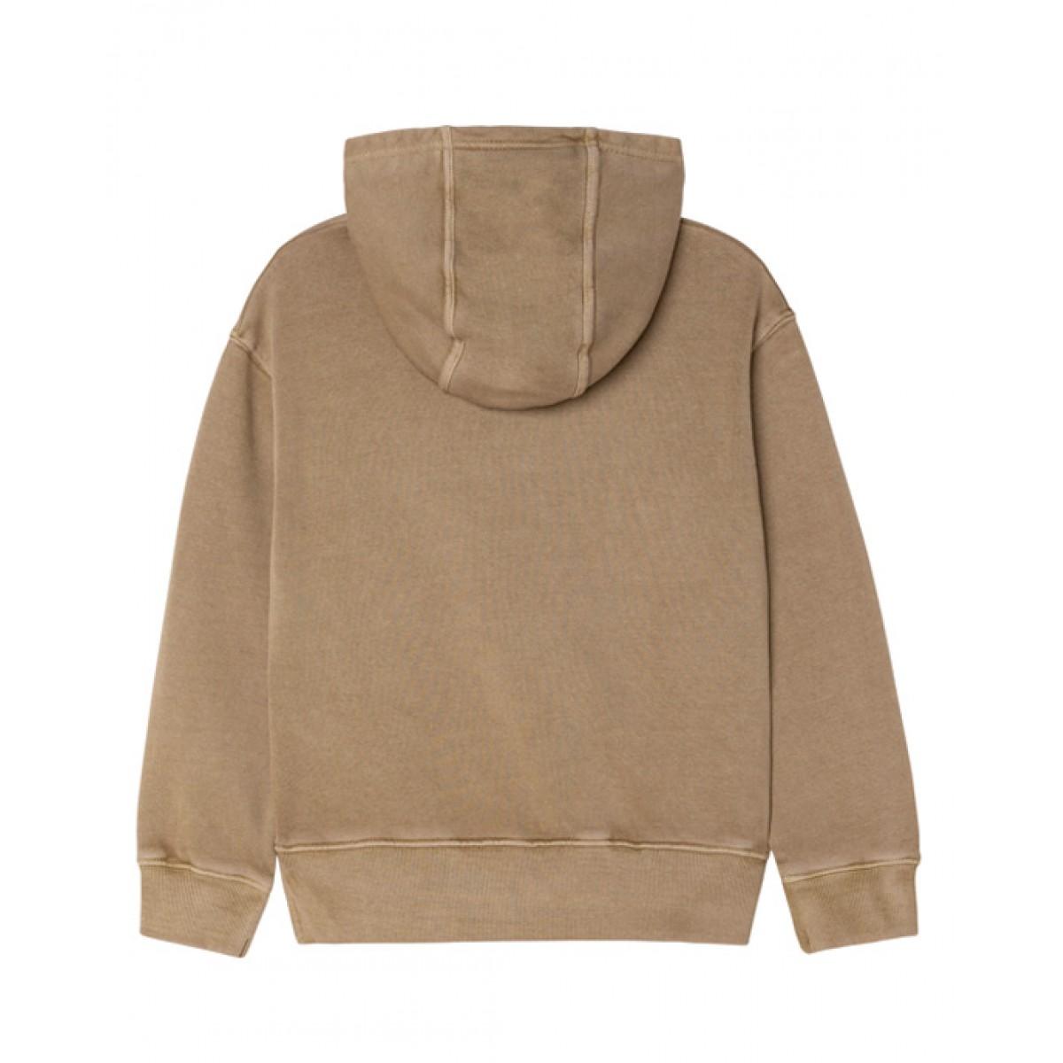 Hooded fleece sweater in beige
