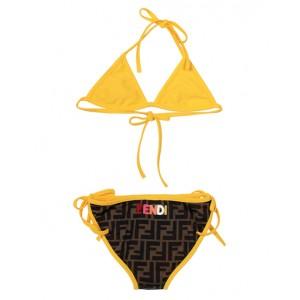 FF print bikini in brown and yellow