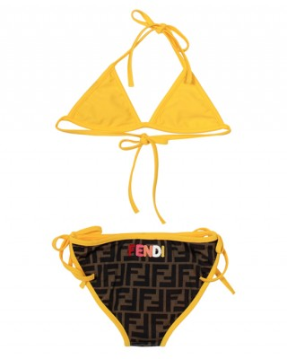 FF print bikini in brown and yellow
