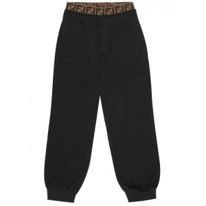 FENDI KIDS Cotton jersey track pants in black