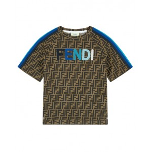 FENDI Blue logo and stripes FF T-shirt