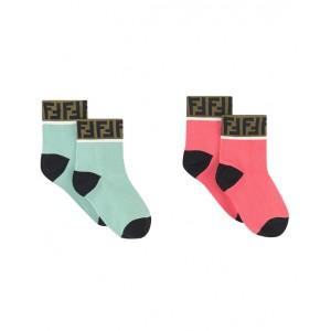 FENDI KIDS Комплект чорапи в розово и синьо