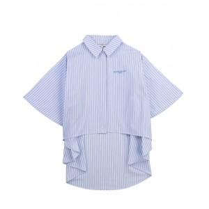 Blue striped colorful logo blouse