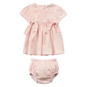 Pink cotton baby dress set