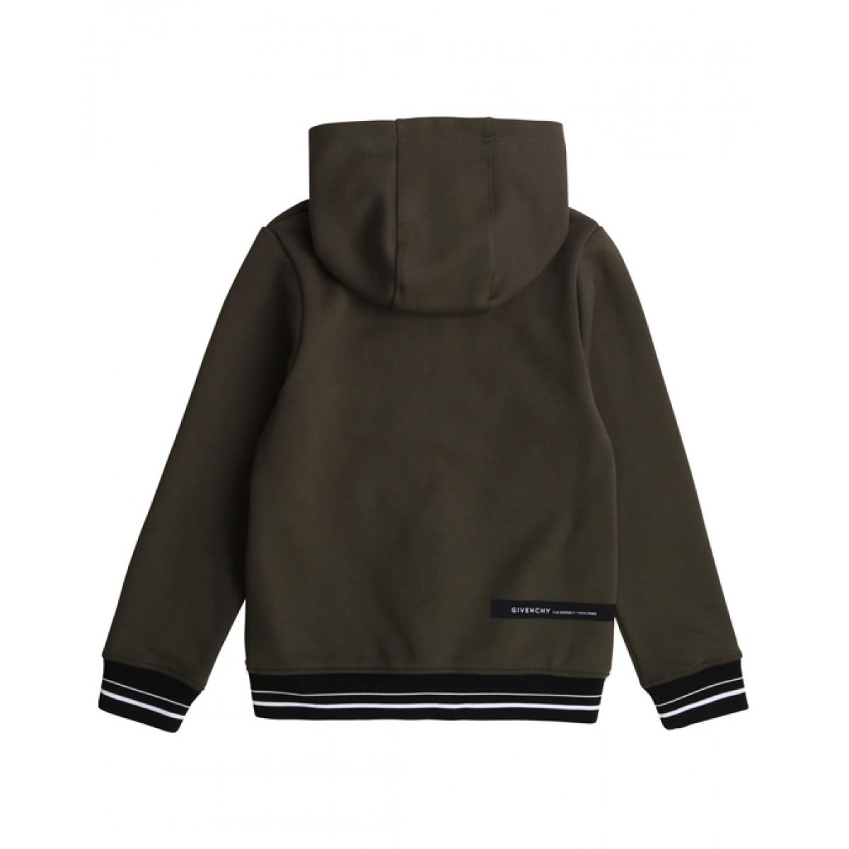 GIVENCHY Khaki green logo hoodie