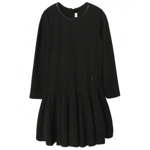 Black Milano jersey long sleeve dress