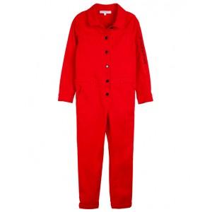 Bright red jumpsuit