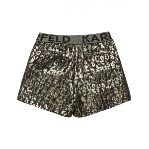 Gold leopard print shorts