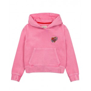 Pink hooded sweatshirt with a heart and logo patch