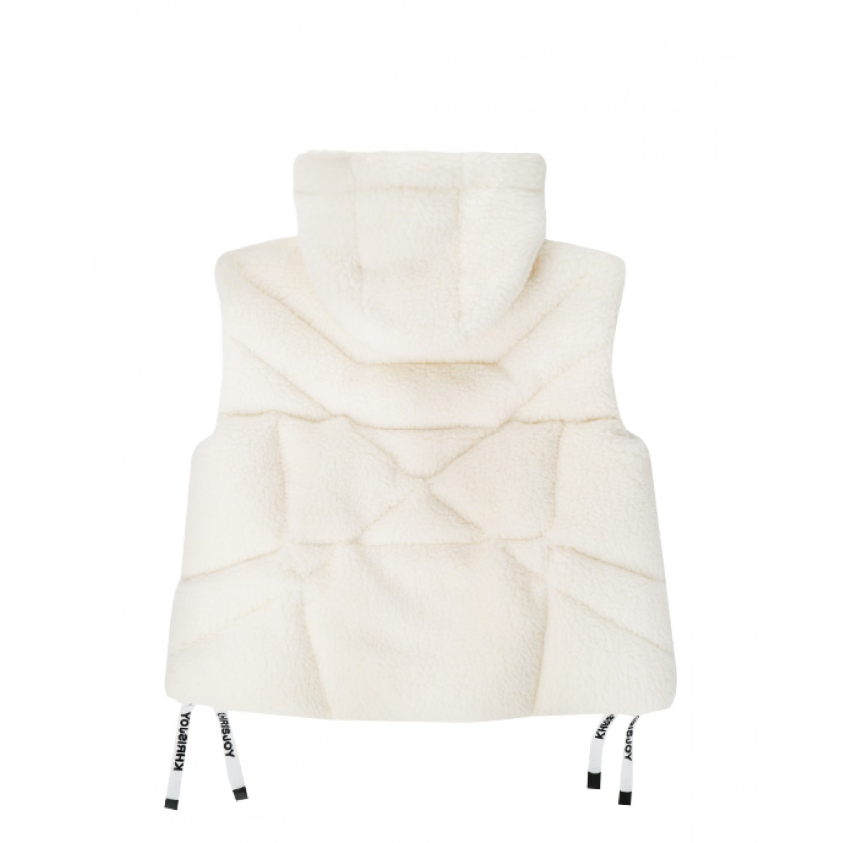 Puffer faux-shearling hooded vest