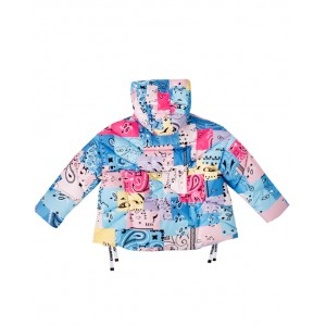 Quilted puffer jacket in multicolored bandana pattern