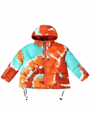 Quilted puffer jacket in orange and turquoise tie-dye