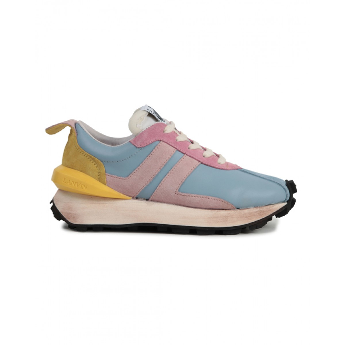 Pale blue and pink sneakers