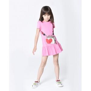 Bag printed pink dress