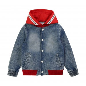 LITTLE MARC JACOBS Denim jacket with detachable hood