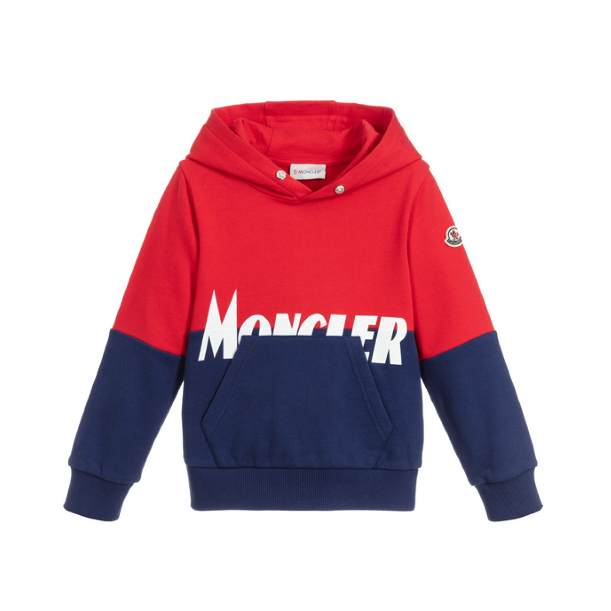 Hooded red and navy sweatshirt