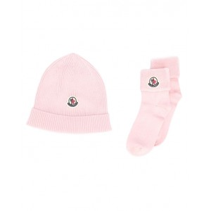 MONCLER Hat and socks set in pink