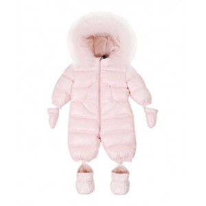 Pink down padded snowsuit