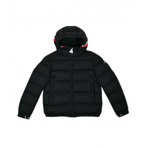 Hooded down jacket with red and white details